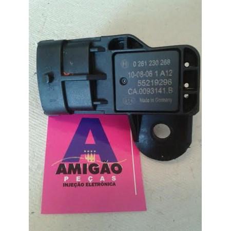 Sensor MAP Fiat Palio /Doblo /Stilo /Punto /Linea - 0261230268 - 55219296 - CA0093141B - Novo